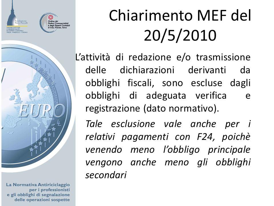 Chiarimento MEF del 20/5/2010 Lattività di redazione e/o trasmissione delle dichiarazioni derivanti da obblighi fiscali, sono escluse dagli obblighi d