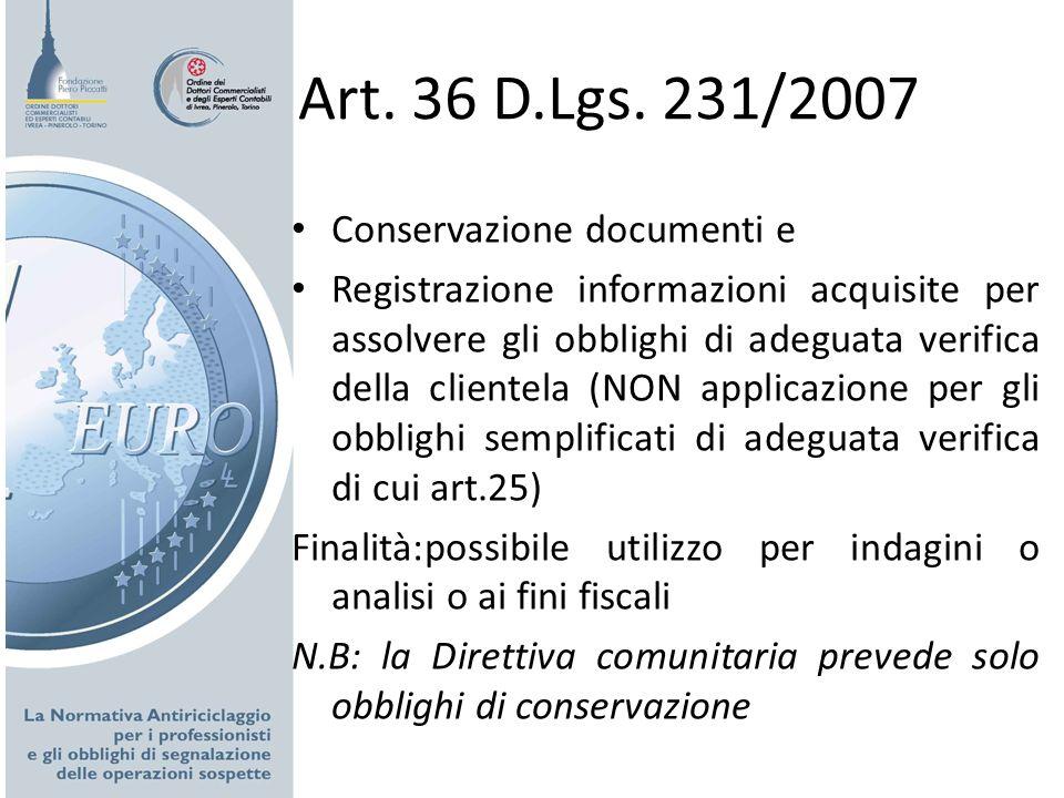 Art. 36 D.Lgs. 231/2007 Conservazione documenti e Registrazione informazioni acquisite per assolvere gli obblighi di adeguata verifica della clientela