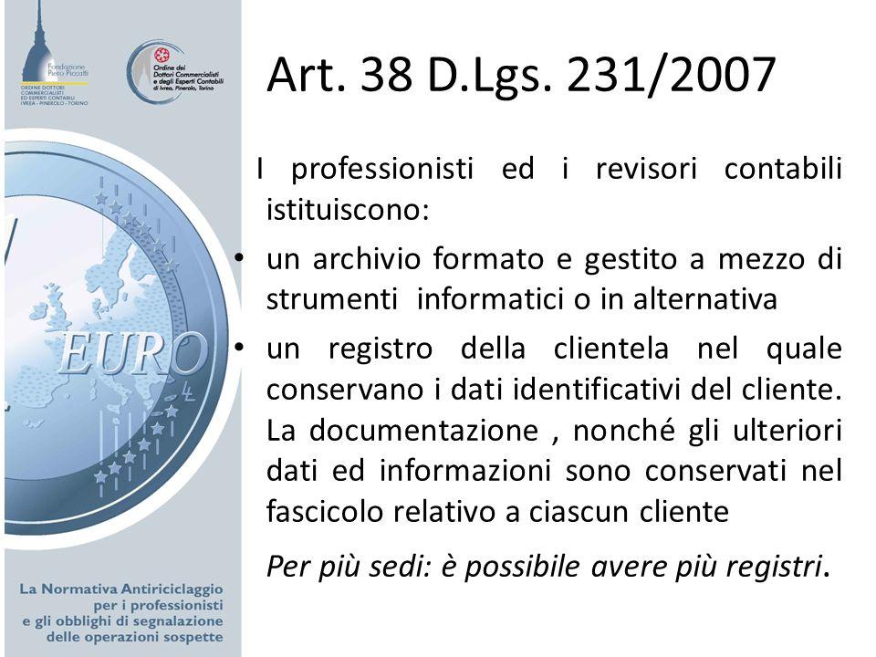 Art. 38 D.Lgs. 231/2007 I professionisti ed i revisori contabili istituiscono: un archivio formato e gestito a mezzo di strumenti informatici o in alt