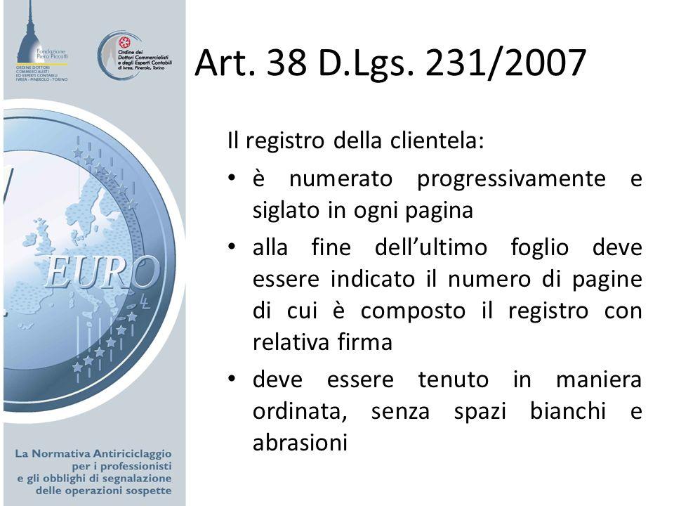 Art. 38 D.Lgs. 231/2007 Il registro della clientela: è numerato progressivamente e siglato in ogni pagina alla fine dellultimo foglio deve essere indi