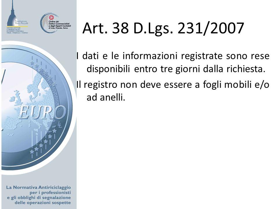 Art. 38 D.Lgs. 231/2007 I dati e le informazioni registrate sono rese disponibili entro tre giorni dalla richiesta. Il registro non deve essere a fogl