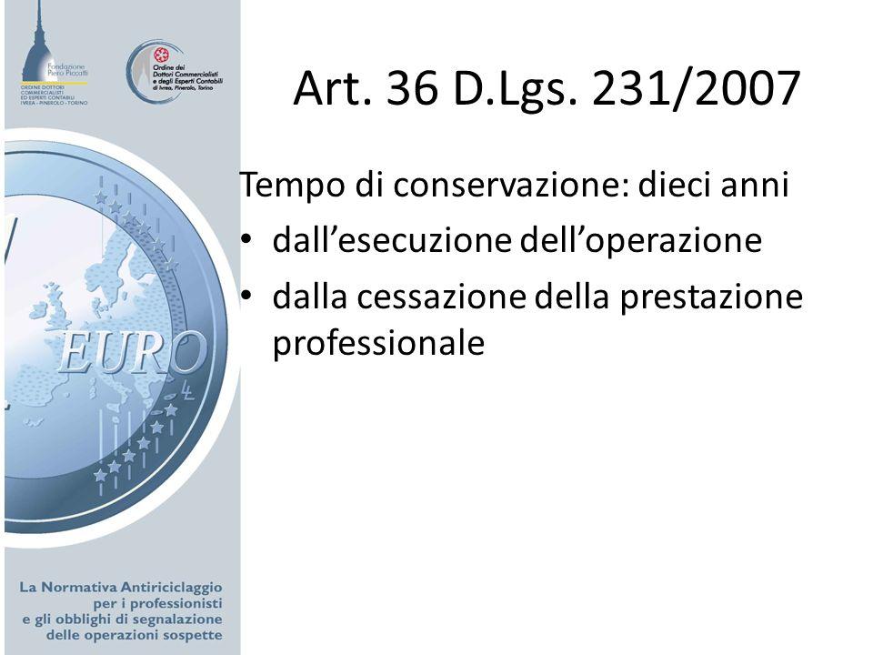 Art. 36 D.Lgs. 231/2007 Tempo di conservazione: dieci anni dallesecuzione delloperazione dalla cessazione della prestazione professionale