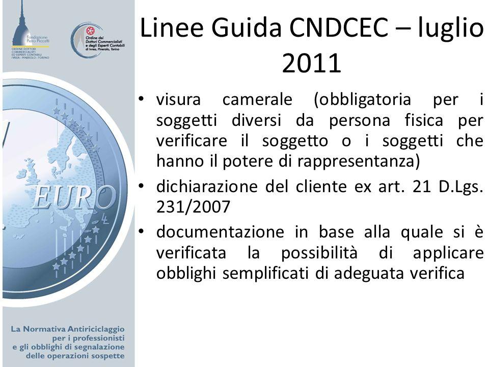 Linee Guida CNDCEC – luglio 2011 visura camerale (obbligatoria per i soggetti diversi da persona fisica per verificare il soggetto o i soggetti che ha