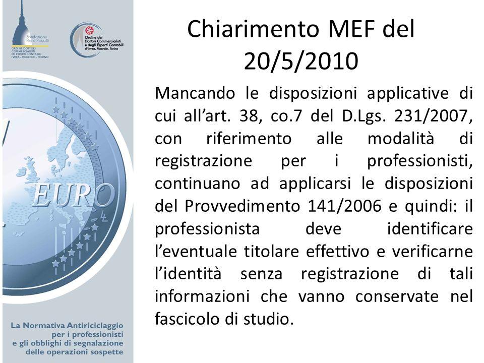 Chiarimento MEF del 20/5/2010 Mancando le disposizioni applicative di cui allart. 38, co.7 del D.Lgs. 231/2007, con riferimento alle modalità di regis