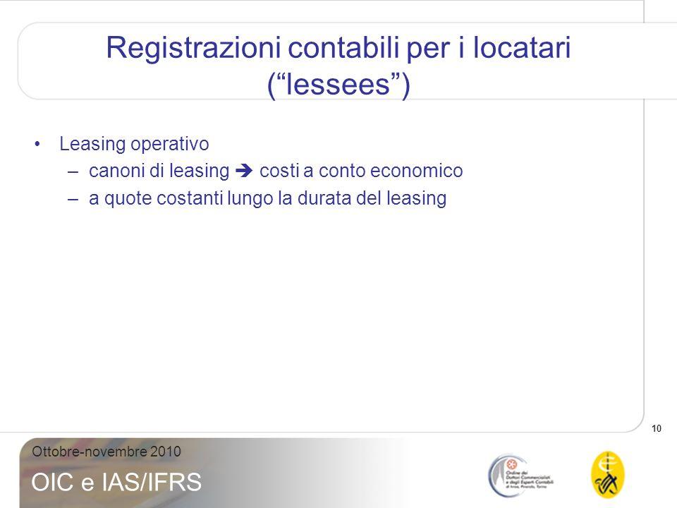 10 Ottobre-novembre 2010 OIC e IAS/IFRS Registrazioni contabili per i locatari (lessees) Leasing operativo –canoni di leasing costi a conto economico