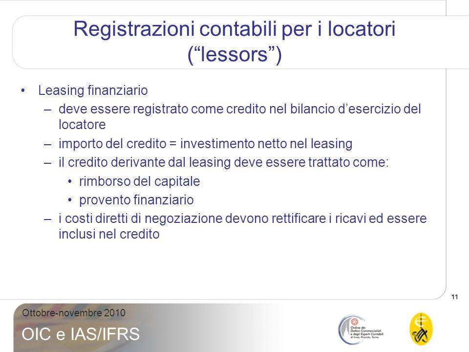 11 Ottobre-novembre 2010 OIC e IAS/IFRS Registrazioni contabili per i locatori (lessors) Leasing finanziario –deve essere registrato come credito nel