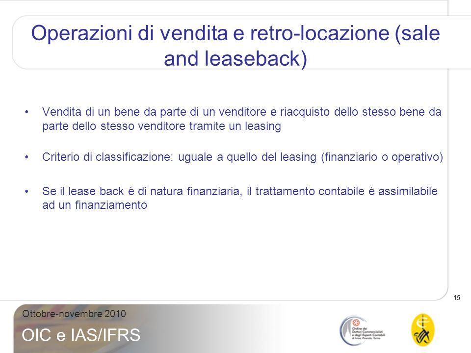 15 Ottobre-novembre 2010 OIC e IAS/IFRS Operazioni di vendita e retro-locazione (sale and leaseback) Vendita di un bene da parte di un venditore e ria