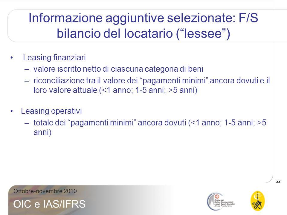 22 Ottobre-novembre 2010 OIC e IAS/IFRS Informazione aggiuntive selezionate: F/S bilancio del locatario (lessee) Leasing finanziari –valore iscritto n