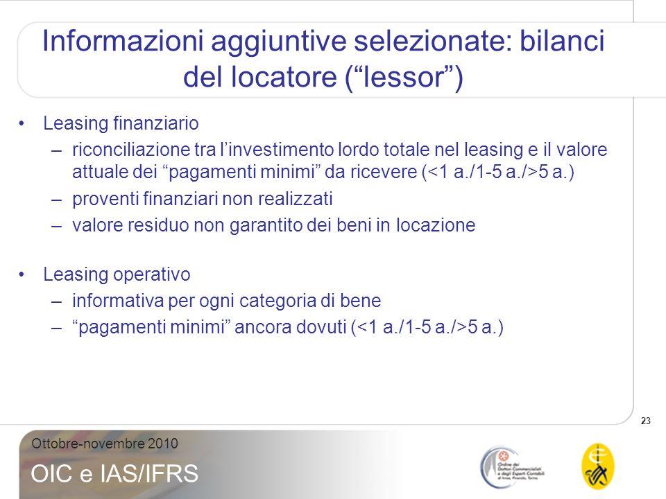 23 Ottobre-novembre 2010 OIC e IAS/IFRS Informazioni aggiuntive selezionate: bilanci del locatore (lessor) Leasing finanziario –riconciliazione tra li
