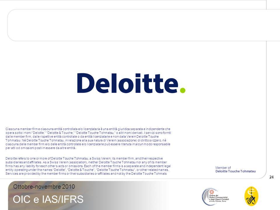 24 Ottobre-novembre 2010 OIC e IAS/IFRS Ciascuna member firm e ciascuna entità controllata e/o licenziataria è una entità giuridica separata e indipendente che opera sotto i nomi Deloitte, Deloitte & Touche, Deloitte Touche Tohmatsu, o altri nomi derivati.