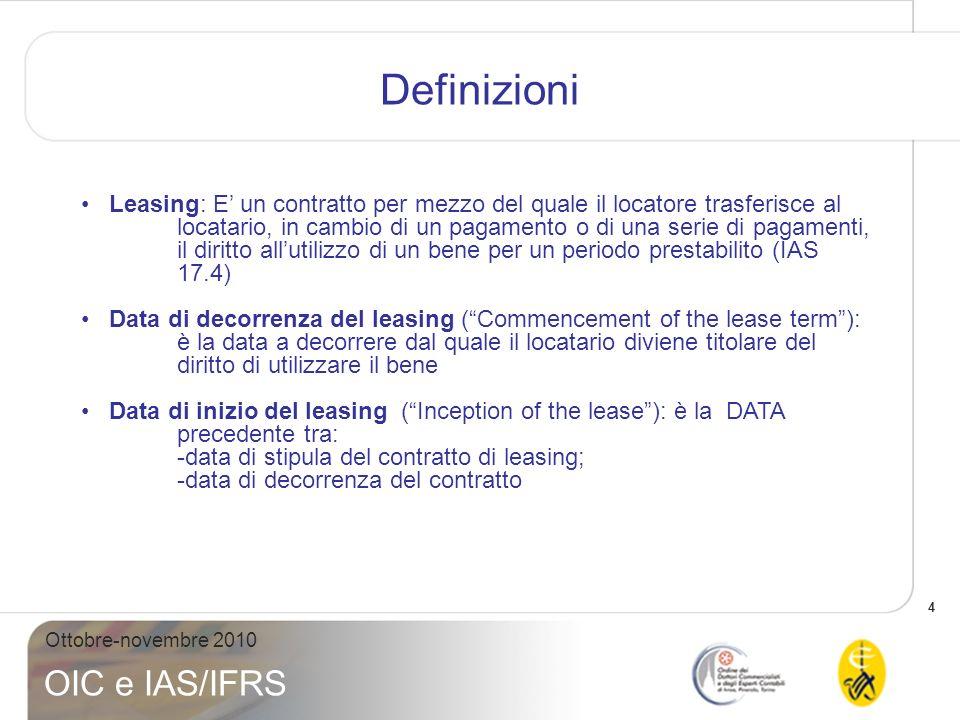 4 Ottobre-novembre 2010 OIC e IAS/IFRS Definizioni Leasing: E un contratto per mezzo del quale il locatore trasferisce al locatario, in cambio di un p