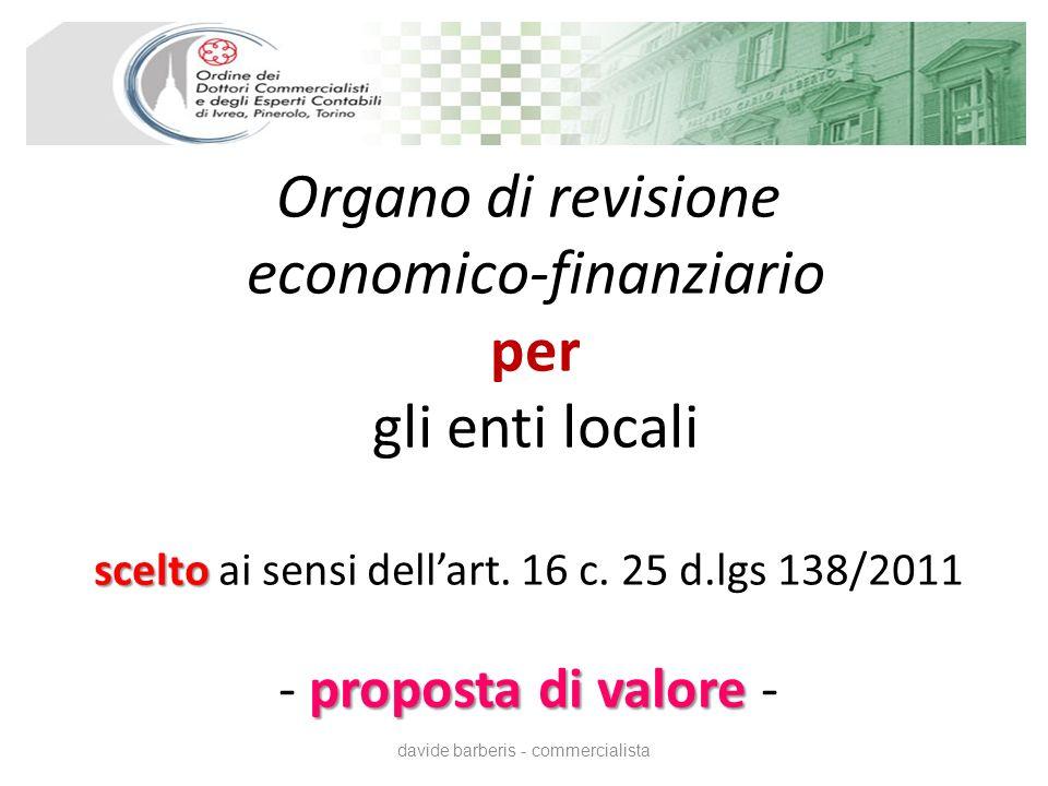 scelto proposta di valore Organo di revisione economico-finanziario per gli enti locali scelto ai sensi dellart.