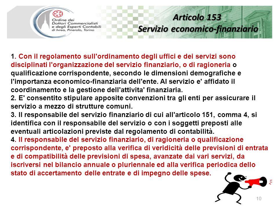 Articolo 153 Servizio economico-finanziario 10 1.