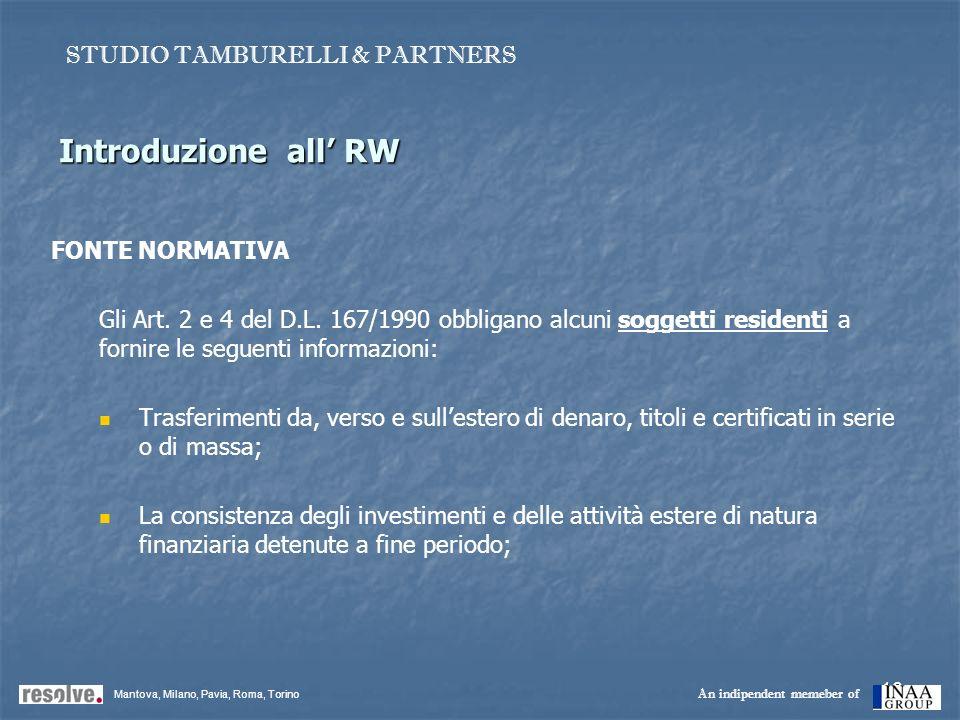 16 Introduzione all RW FONTE NORMATIVA Gli Art. 2 e 4 del D.L. 167/1990 obbligano alcuni soggetti residenti a fornire le seguenti informazioni: Trasfe
