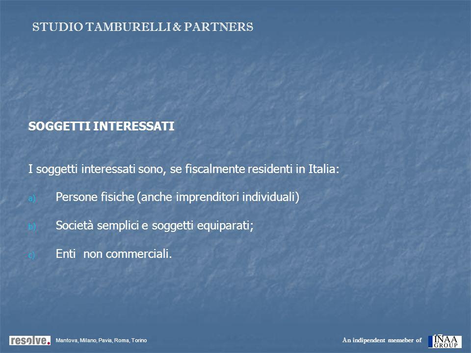 17 SOGGETTI INTERESSATI I soggetti interessati sono, se fiscalmente residenti in Italia: a) a) Persone fisiche (anche imprenditori individuali) b) b)