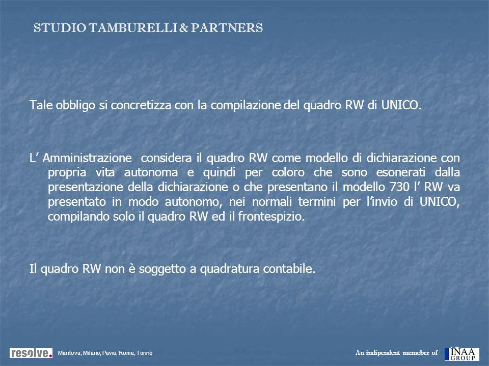 18 Tale obbligo si concretizza con la compilazione del quadro RW di UNICO. L Amministrazione considera il quadro RW come modello di dichiarazione con