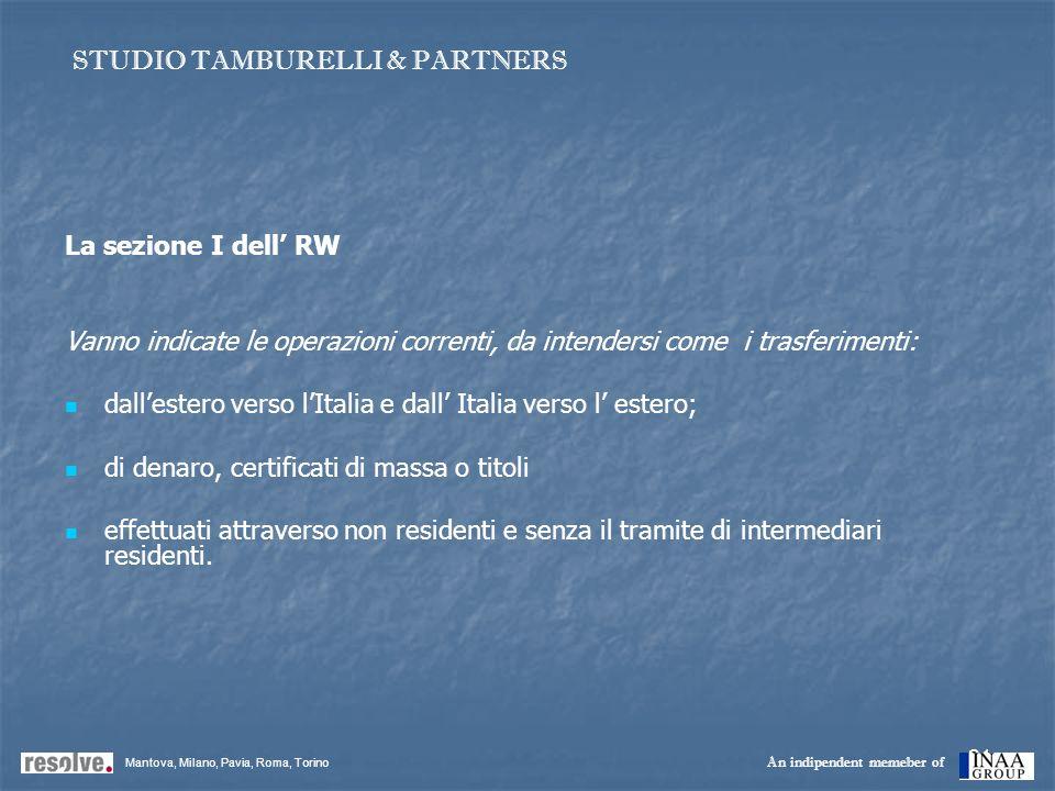 21 La sezione I dell RW Vanno indicate le operazioni correnti, da intendersi come i trasferimenti: dallestero verso lItalia e dall Italia verso l este