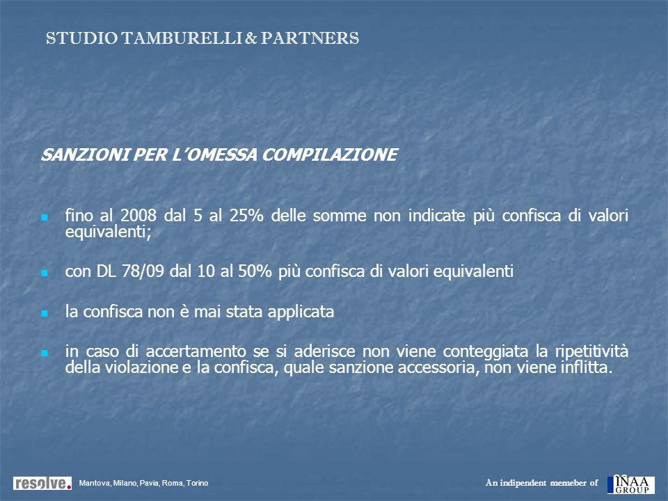 23 SANZIONI PER LOMESSA COMPILAZIONE fino al 2008 dal 5 al 25% delle somme non indicate più confisca di valori equivalenti; con DL 78/09 dal 10 al 50%