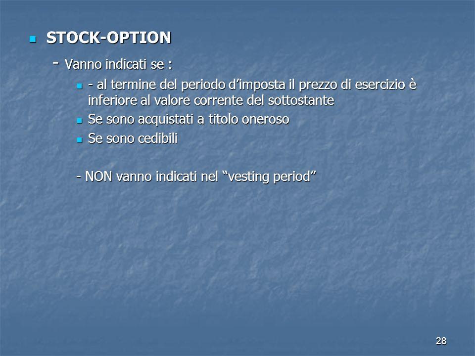 28 STOCK-OPTION STOCK-OPTION - Vanno indicati se : - al termine del periodo dimposta il prezzo di esercizio è inferiore al valore corrente del sottost
