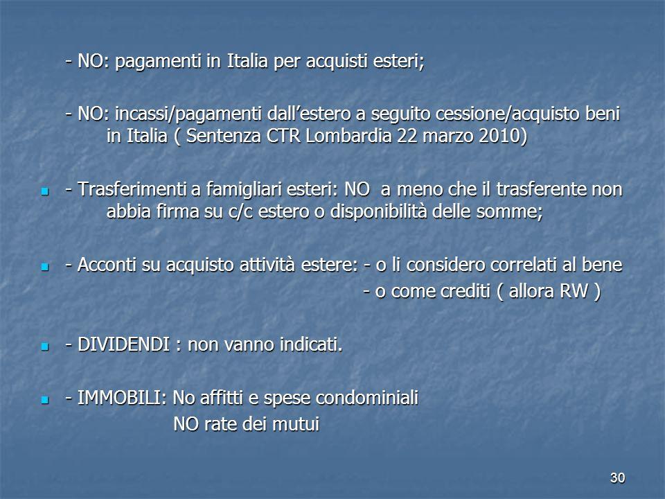30 - NO: pagamenti in Italia per acquisti esteri; - NO: incassi/pagamenti dallestero a seguito cessione/acquisto beni in Italia ( Sentenza CTR Lombard