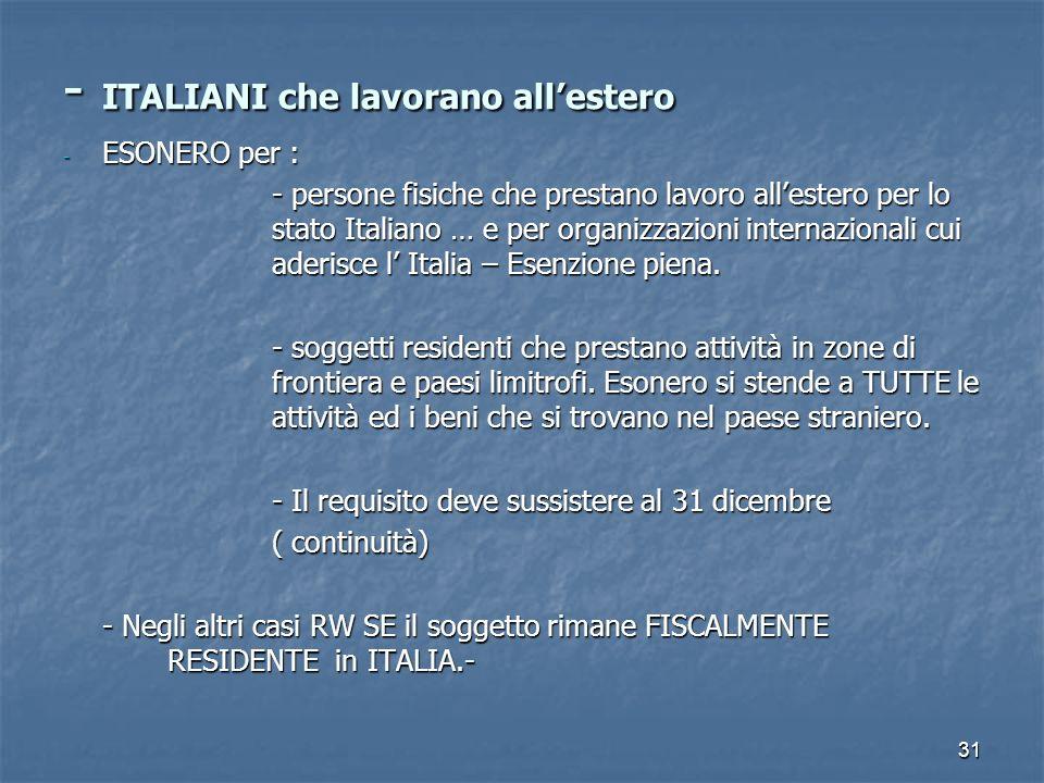 31 - ITALIANI che lavorano allestero - ESONERO per : - persone fisiche che prestano lavoro allestero per lo stato Italiano … e per organizzazioni inte