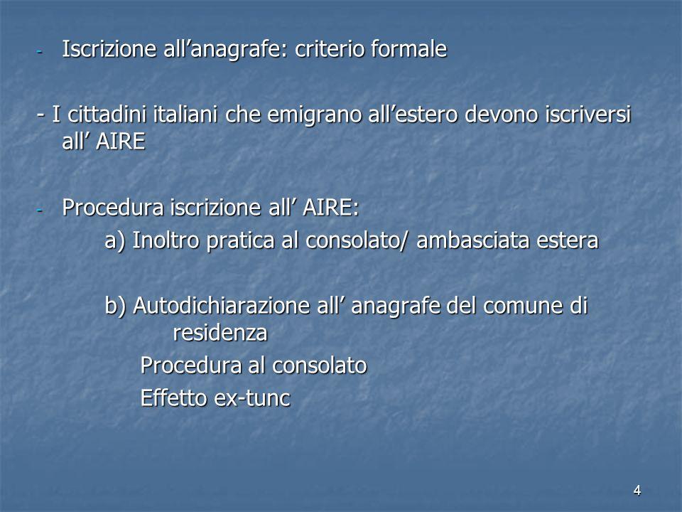 4 - Iscrizione allanagrafe: criterio formale - I cittadini italiani che emigrano allestero devono iscriversi all AIRE - Procedura iscrizione all AIRE: