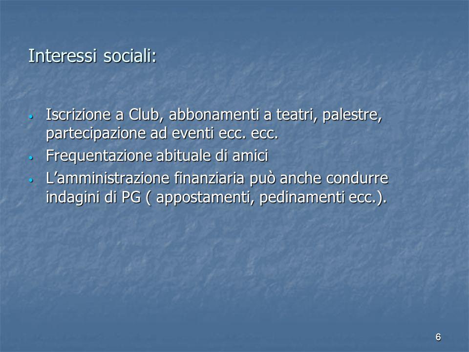 6 Interessi sociali: Iscrizione a Club, abbonamenti a teatri, palestre, partecipazione ad eventi ecc. ecc. Iscrizione a Club, abbonamenti a teatri, pa