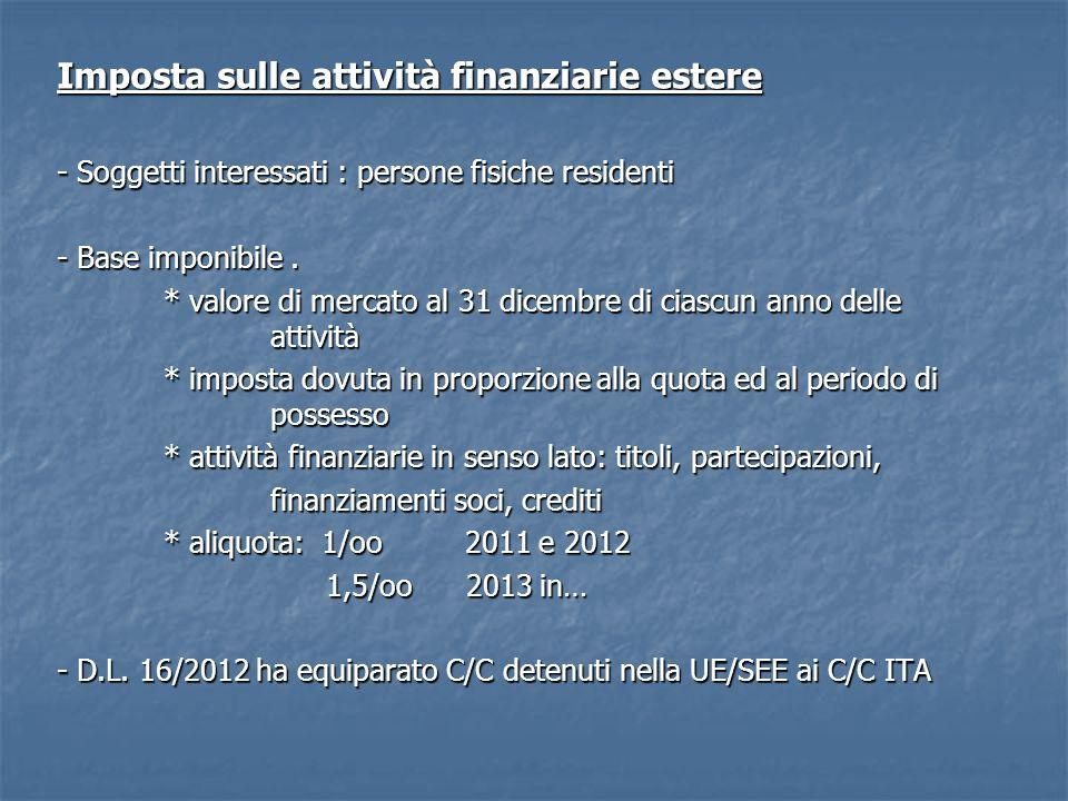 Imposta sulle attività finanziarie estere - Soggetti interessati : persone fisiche residenti - Base imponibile.