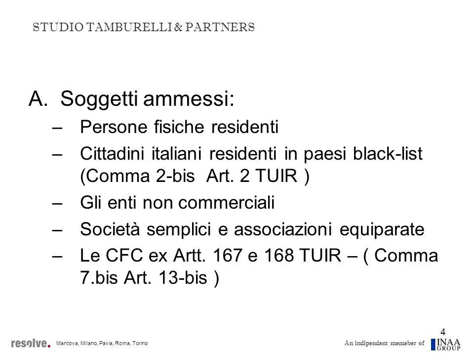 5 A.Soggetti ammessi: –Persone fisiche residenti Requisito della residenza deve sussistere nel 2009 Condizioni per la residenza: Art.
