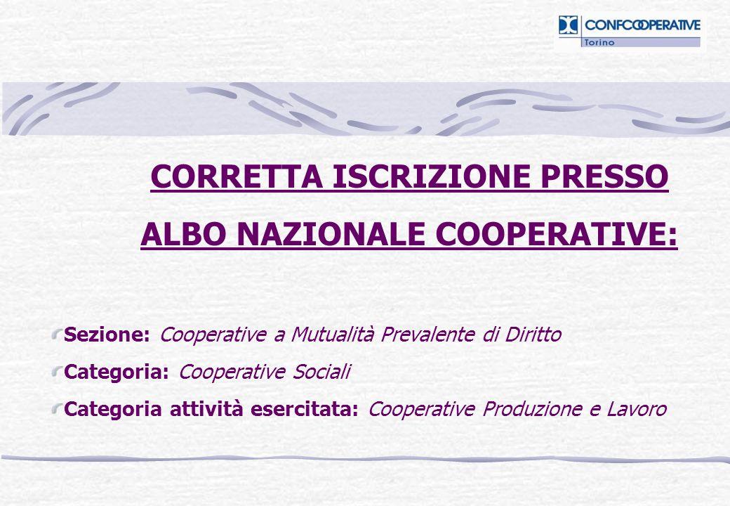 CORRETTA ISCRIZIONE PRESSO ALBO NAZIONALE COOPERATIVE: Sezione: Cooperative a Mutualità Prevalente di Diritto Categoria: Cooperative Sociali Categoria