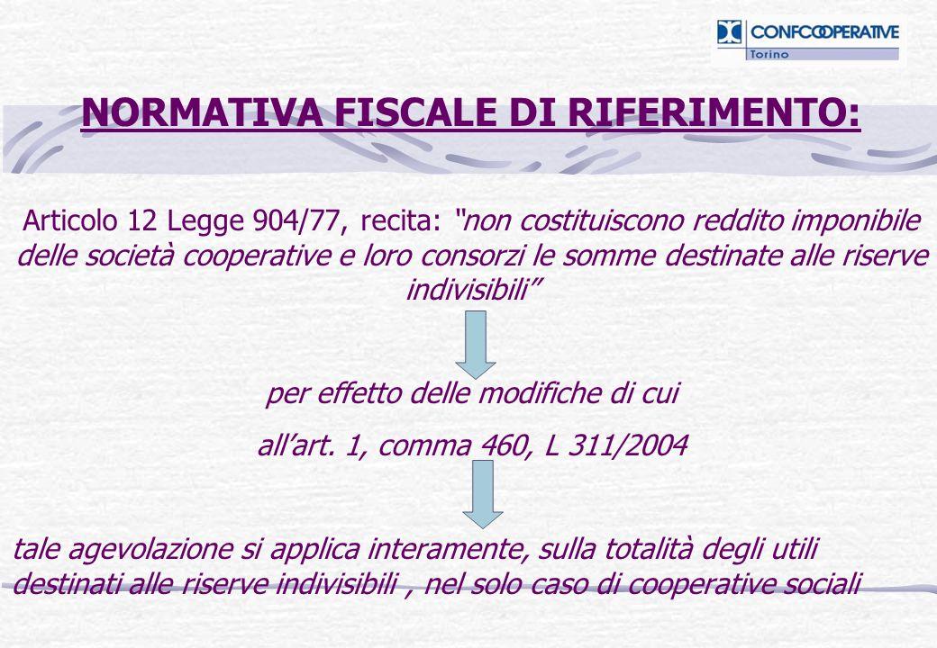 NORMATIVA FISCALE DI RIFERIMENTO: Articolo 12 Legge 904/77, recita: non costituiscono reddito imponibile delle società cooperative e loro consorzi le