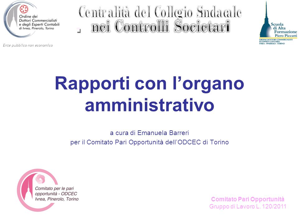 Ente pubblico non economico Comitato Pari Opportunità Gruppo di Lavoro L. 120/2011 Rapporti con lorgano amministrativo a cura di Emanuela Barreri per