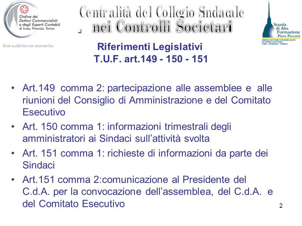Ente pubblico non economico 2 Riferimenti Legislativi T.U.F. art.149 - 150 - 151 Art.149 comma 2: partecipazione alle assemblee e alle riunioni del Co