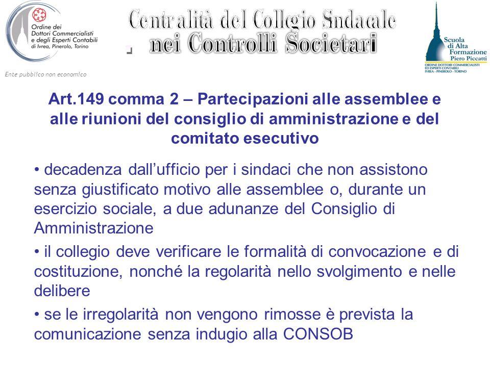 Ente pubblico non economico Art.149 comma 2 – Partecipazioni alle assemblee e alle riunioni del consiglio di amministrazione e del comitato esecutivo