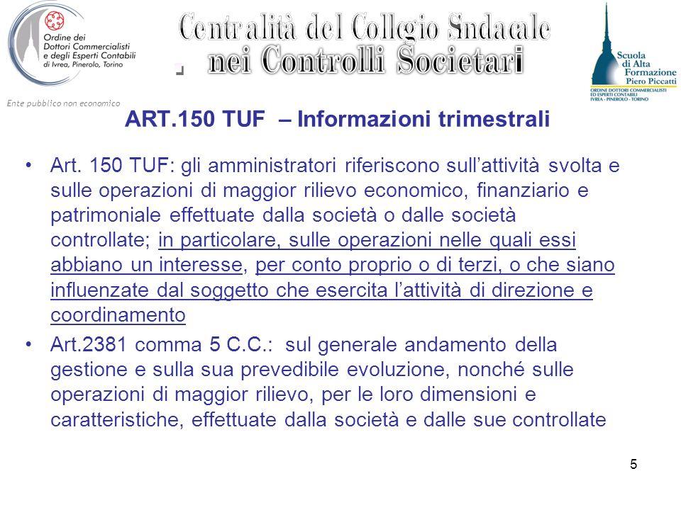 Ente pubblico non economico 5 ART.150 TUF – Informazioni trimestrali Art. 150 TUF: gli amministratori riferiscono sullattività svolta e sulle operazio