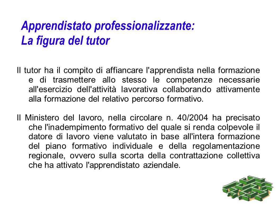 Apprendistato professionalizzante: La figura del tutor Il tutor ha il compito di affiancare l'apprendista nella formazione e di trasmettere allo stess