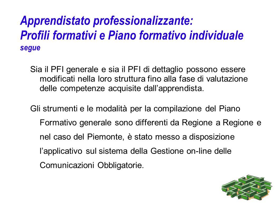 Apprendistato professionalizzante: Profili formativi e Piano formativo individuale segue Sia il PFI generale e sia il PFI di dettaglio possono essere