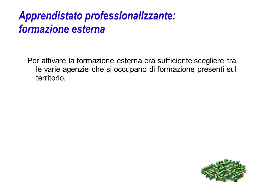 Apprendistato professionalizzante: formazione esterna Per attivare la formazione esterna era sufficiente scegliere tra le varie agenzie che si occupan