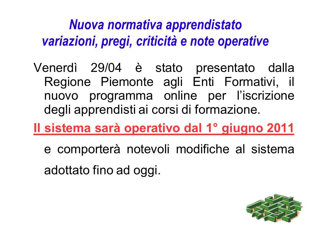 Nuova normativa apprendistato variazioni, pregi, criticità e note operative Venerdì 29/04 è stato presentato dalla Regione Piemonte agli Enti Formativ