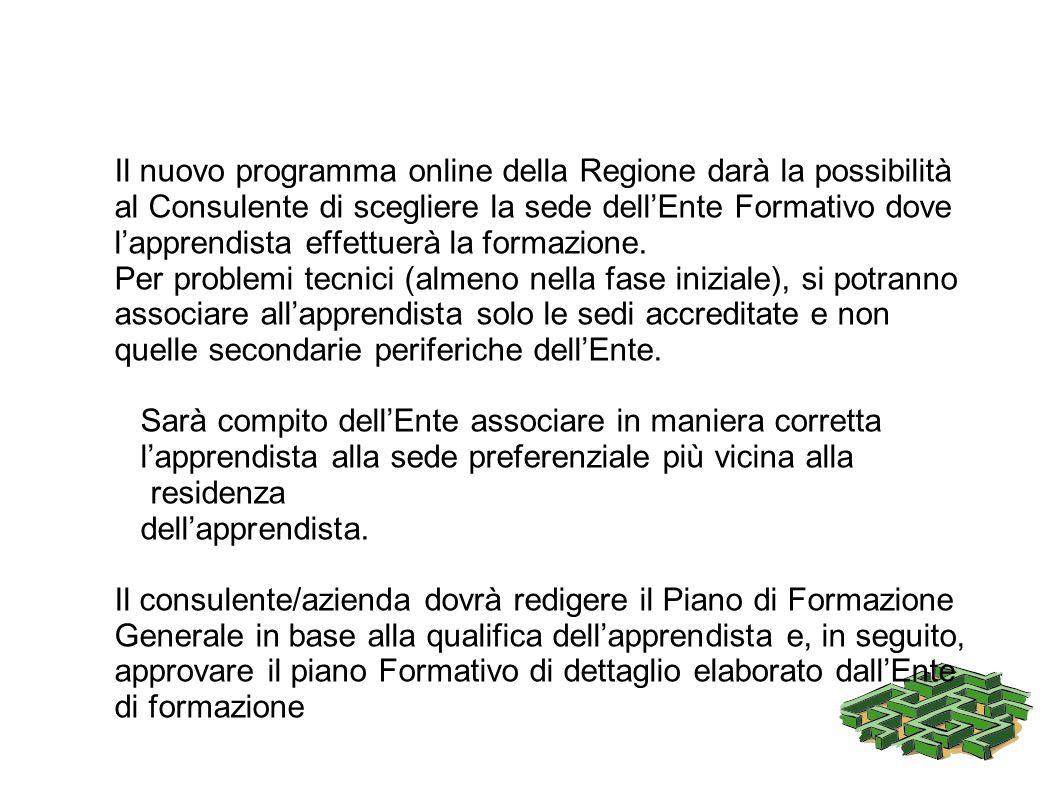 Il nuovo programma online della Regione darà la possibilità al Consulente di scegliere la sede dellEnte Formativo dove lapprendista effettuerà la form