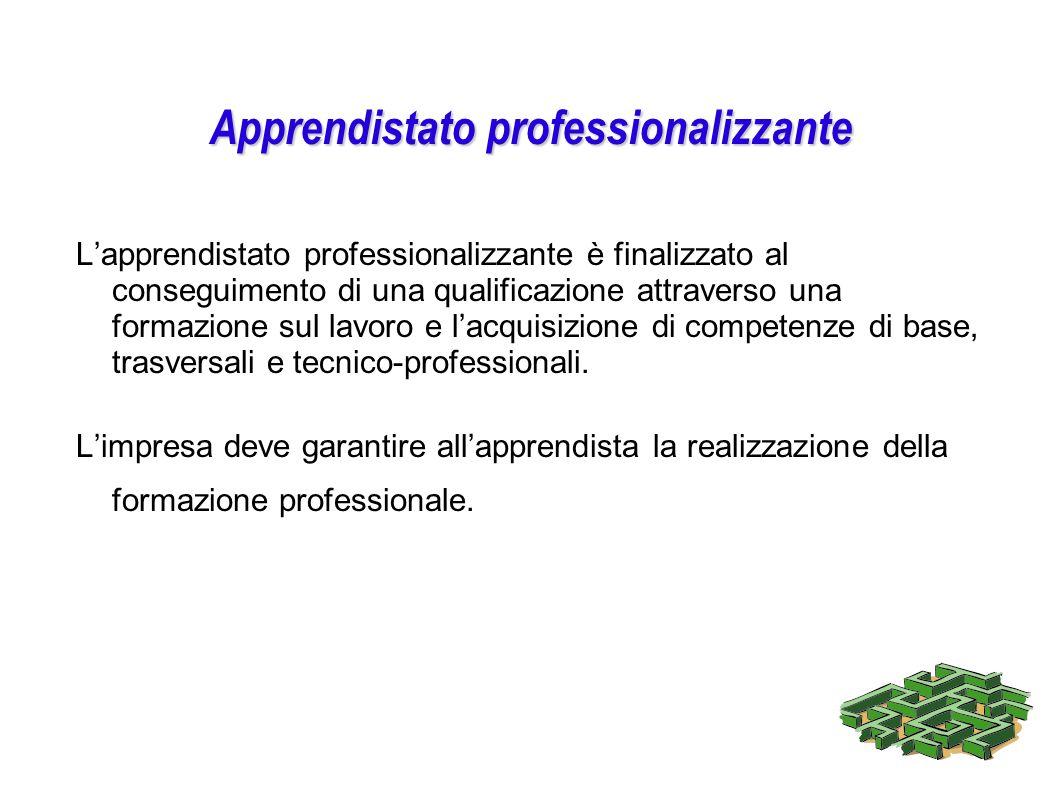 Apprendistato professionalizzante Lapprendistato professionalizzante è finalizzato al conseguimento di una qualificazione attraverso una formazione su