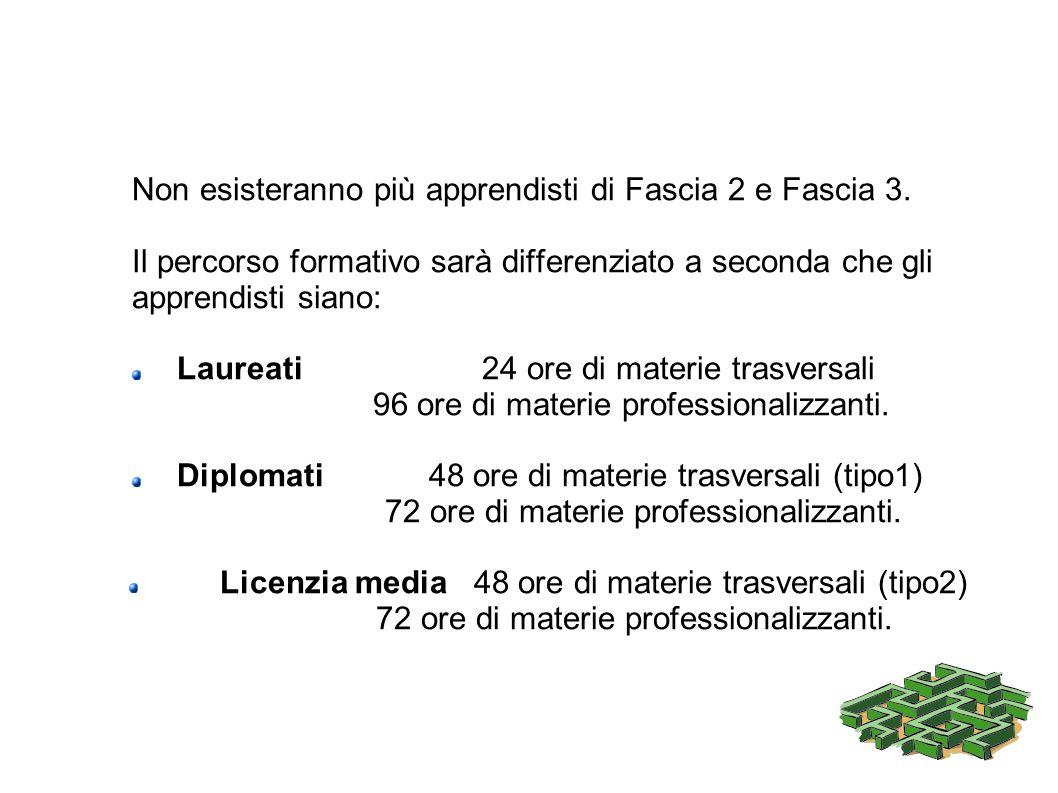 Non esisteranno più apprendisti di Fascia 2 e Fascia 3. Il percorso formativo sarà differenziato a seconda che gli apprendisti siano: Laureati 24 ore