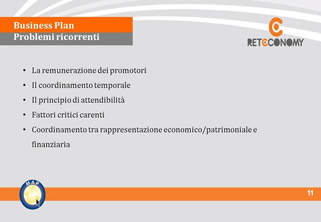 11 La remunerazione dei promotori Il coordinamento temporale Il principio di attendibilità Fattori critici carenti Coordinamento tra rappresentazione economico/patrimoniale e finanziaria Business Plan Problemi ricorrenti