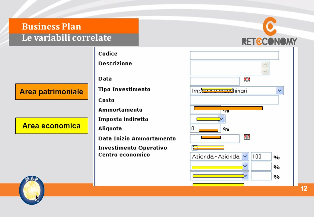 12 Area economica Area patrimoniale Business Plan Le variabili correlate