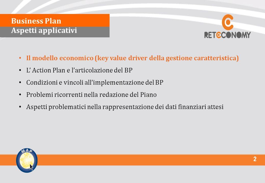 2 Il modello economico (key value driver della gestione caratteristica) L Action Plan e larticolazione del BP Condizioni e vincoli allimplementazione del BP Problemi ricorrenti nella redazione del Piano Aspetti problematici nella rappresentazione dei dati finanziari attesi Business Plan Aspetti applicativi