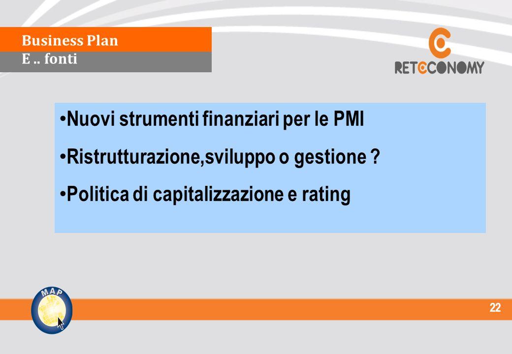 22 Nuovi strumenti finanziari per le PMI Ristrutturazione,sviluppo o gestione .