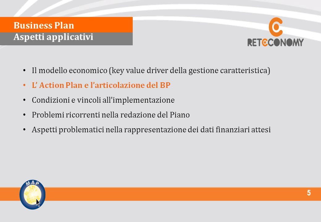 5 Il modello economico (key value driver della gestione caratteristica) L Action Plan e larticolazione del BP Condizioni e vincoli allimplementazione Problemi ricorrenti nella redazione del Piano Aspetti problematici nella rappresentazione dei dati finanziari attesi Business Plan Aspetti applicativi