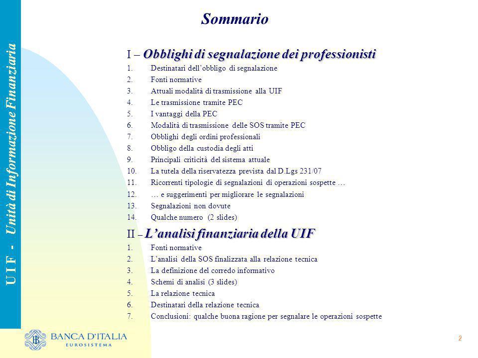 2 Sommario U I F - Unità di Informazione Finanziaria Obblighi di segnalazione dei professionisti I – Obblighi di segnalazione dei professionisti 1.Des