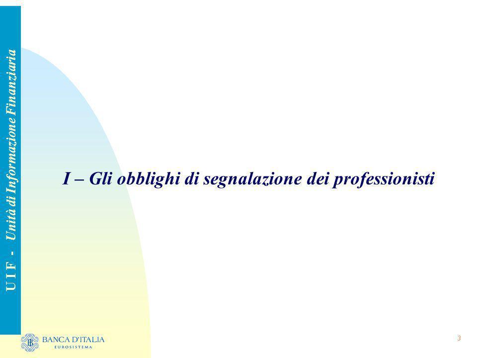 3 I – Gli obblighi di segnalazione dei professionisti U I F - Unità di Informazione Finanziaria
