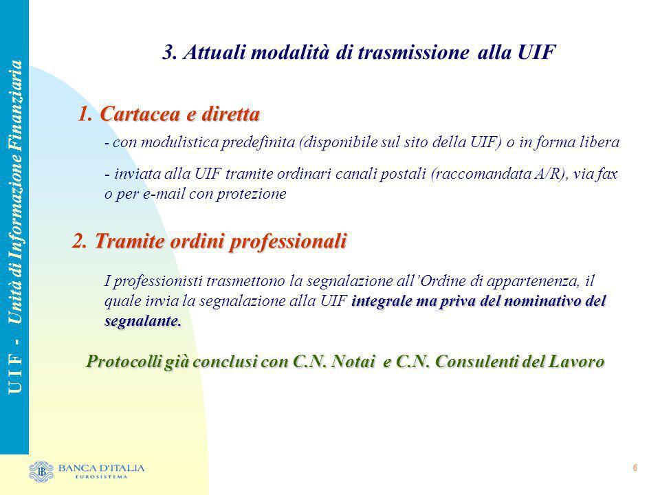 6 3. Attuali modalità di trasmissione alla UIF U I F - Unità di Informazione Finanziaria Cartacea e diretta 1. Cartacea e diretta - con modulistica pr